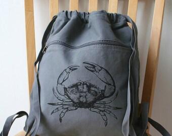 Crab Canvas Backpack Laptop Bag