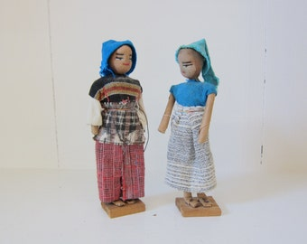 2 Vintage Handmade Paper Dolls from Guatemala