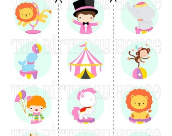 INSTANT DOWNLOAD - PRINTABLE Circus Friends Party Rounds - Assorted Pink Carnival Cupcake Toppers by The Birthday House