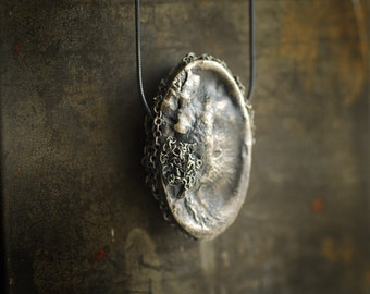 Ready to Ship, Raw Silver Jewelry, Ocean Art Pendant, Texture Necklace, Metal Art Sculpture, Brooch Pin, Statement Jewelry, Unique