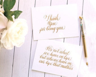 Calligraphy Cards Calligraphy Note Cards Thank You Cards Blank Cards Sweet Cards Kind Cards For Friends Handmade Cards Handwritten Cards