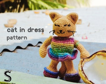 The Cat in a Dress Crochet Pattern | Crochet Cat Pattern | Cat Crochet Pattern | Amigurumi Pattern PDF | Cat Crochet Doll | Dressed Animals