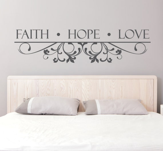 sc 1 st  Etsy & Vinyl Wall Decal Faith Hope Love Quote Bedroom Wall Art
