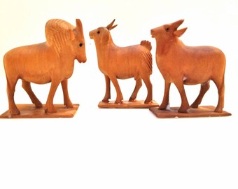 3 Eland Hand carved African Animals Antelope Wood mid century