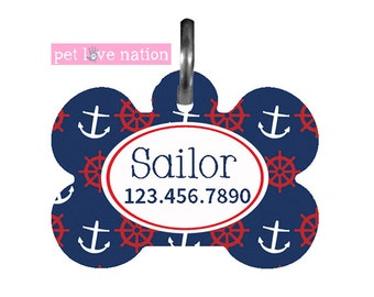Personalized Pet Tag, Dog Tag, ID Tag, Preppy Nautical Anchors Pet Tag With Name And Phone Number