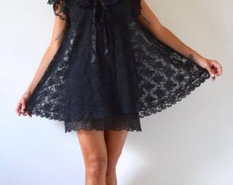 Vintage 50s 60s Inky Black Lace Babydoll Peignoir and Slip Set (size xs, small)