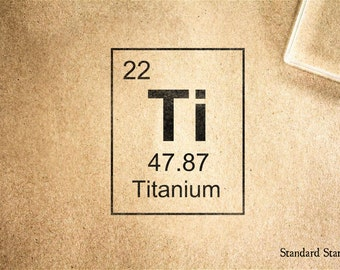 Titanium Periodic Table Rubber Stamp   2 X 2 Inches