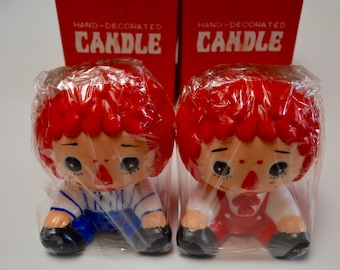 Vintage Raggedy Ann and Andy Candles, Hand Decorated by Price Imports Japan