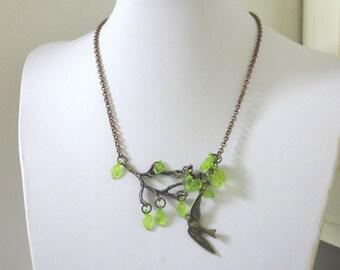 Swallow Necklace Bird Tree Branch Copper Jewelry