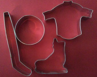 Hockey cookie cutters -you pick-Hockey stick and puck Cookie Cutter, Ice skate Hockey jersey cookie cutter-