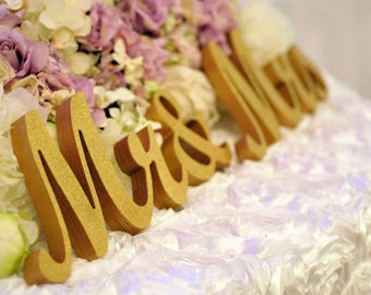 GOLD and SILVER GLITTER Mr. wedding signs- letters wedding table decoration, freestanding Mr and Mrs signs for sweetheart table