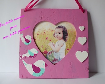 """""""birds for little Princess"""" wooden picture frame"""