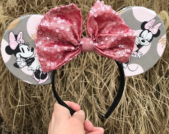 Handmade Rock the Dots Ears with Matte Pink Bow