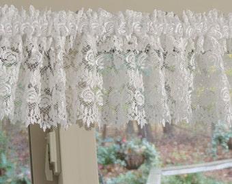 White Curtain Valance,  White Venice Lace Valance,  White Window Treatment
