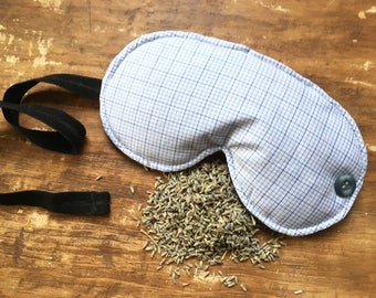 Pin Stripe & Flannel Lavender Sleep Mask, sleeping mask, sleeping mask for men, travel accessory, blindfold, spa mask, sleep mask for adult
