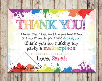 Custom Art or Messy Party Thank You Card   Customized Printable File   Child's First Second Third Birthday