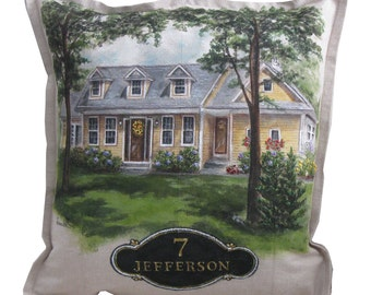 "HOUSE PORTRAIT PILLOW Custom Decorative Pillow 18"" x 18"" Hand Painted Embroidered Detail"