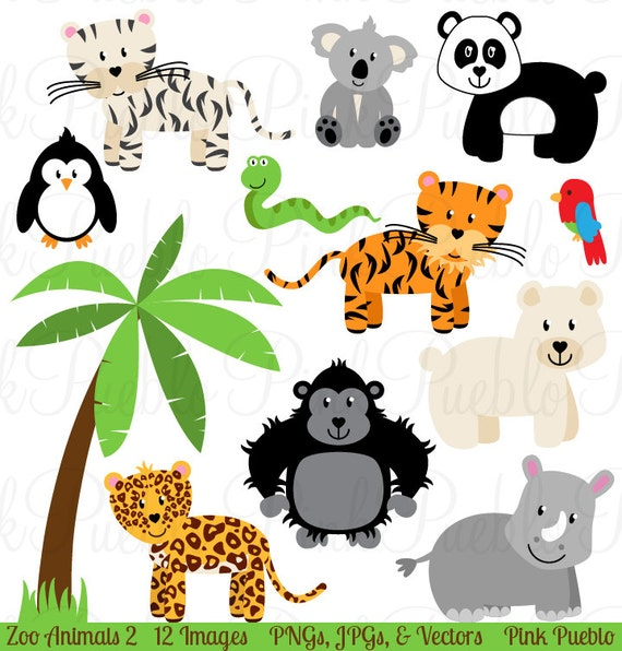 zoo animal clip art 2 zoo animal clipart safari jungle animal rh etsystudio com zoo animal clip art images zoo animals clip art