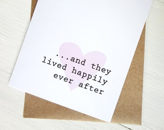 Happily ever after wedding gift card pink heart love card anniversary card