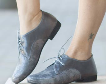 Grey Leather Shoe, Silver Oxfords, Flats, Flat Shoes, Gray Shoes, Autumn, Winter, Closed Shoes , Free Shipping