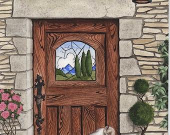 Original Painting Arts and Crafts Door