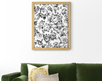Vintage Floral Art Print in Black and White | Flower Wall | Printable illustration Poster 16x20, 16x24, 18x24 or A3