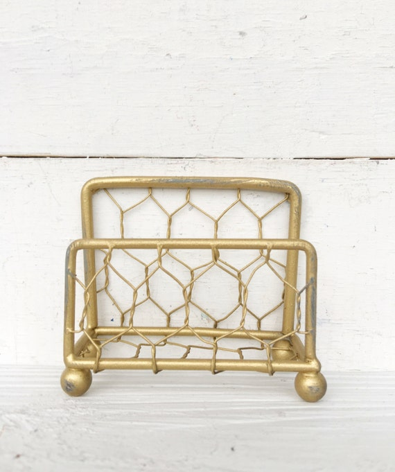 Business Card Holder Antique Gold Chicken Wire Shimmering