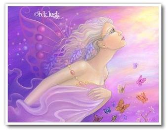 Signed 8 x 10 Print Butterfly Girl Fairy Art Pink Nouveau Goddess Diva Mother Nature B. K . Lusk