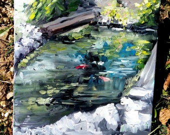 Plein Air Oil Painting of a pond