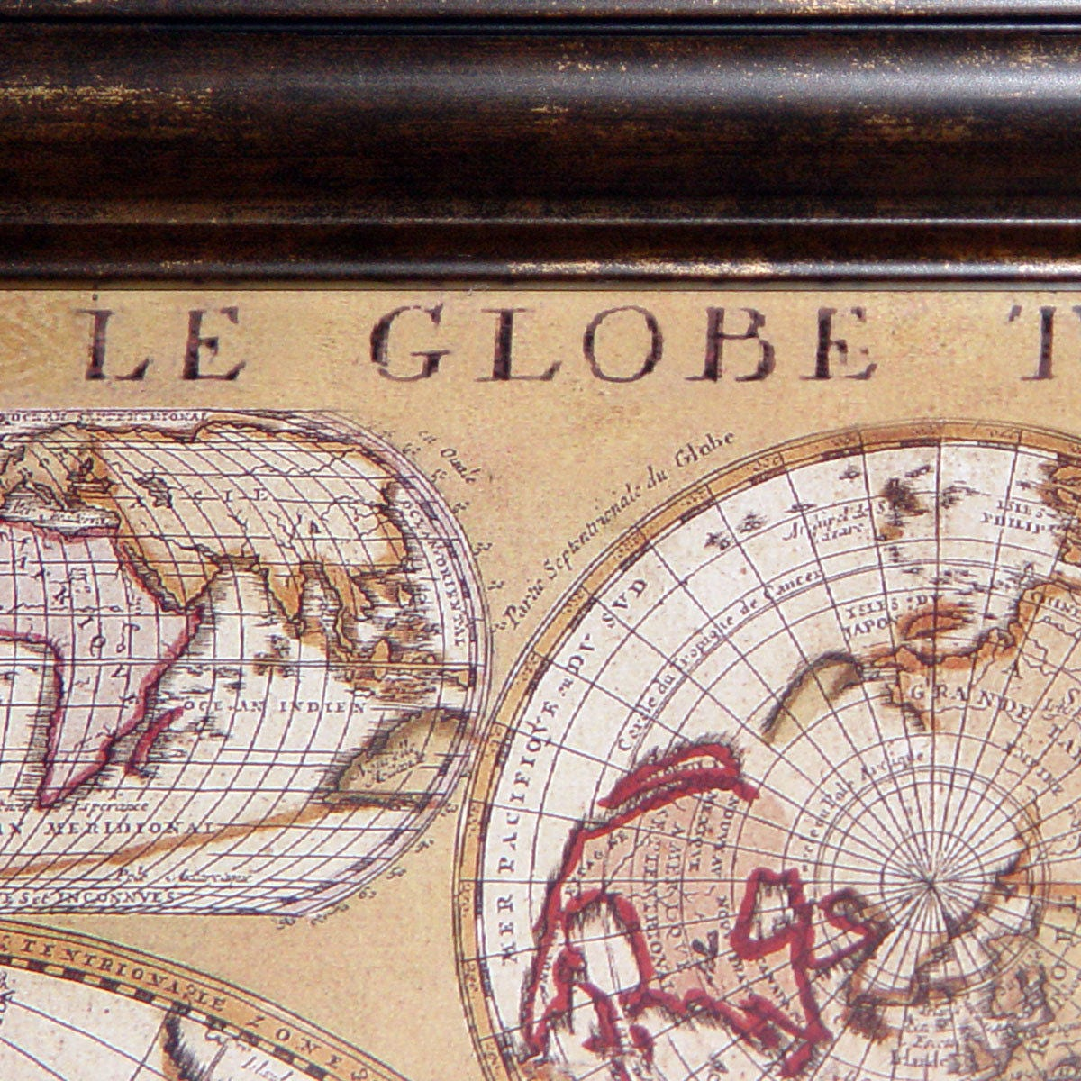 Vintage le globe terrestre 1690 world map walnutglass framed in vgc gallery photo gallery photo gumiabroncs Gallery