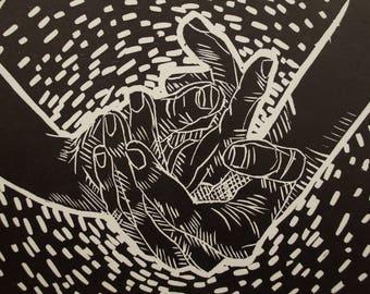 """Linocut Printmaking of Hands """"Hold On"""""""
