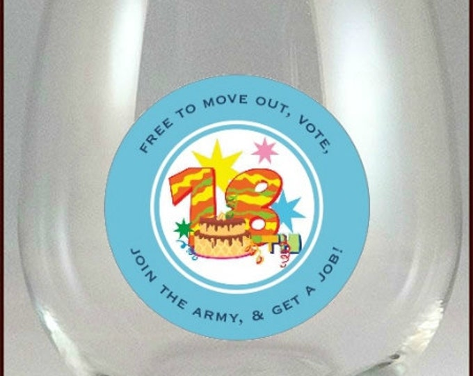 18th Birthday Party Glass Decals,  10 Pack - Glass Not Included