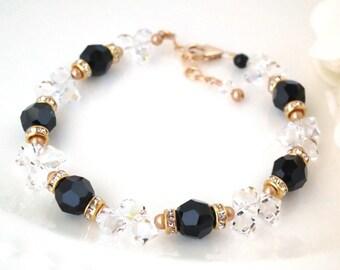 Black and gold bridal bracelet, Swarovski crystal wedding bracelet, Unique beaded bracelet, Formal jewelry, Mother of the bride bracelet