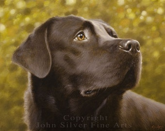 Custom Pet Portrait Head & Shoulders Dog Oil Painting  by award winning UK artist JOHN SILVER. 16 x 12 inches