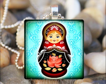 RUSSIAN NESTING DOLL Matryoshka Babushka Russian Stacking Dolls Glass Tile Pendant Necklace Keyring - Aqua Color