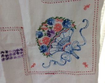 Vintage Linen Embroidered Table Cloth, Shabby Chic Table Topper, Summer Picnic Table Cloth, Boho Style, Handmade Table Cloth