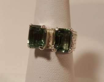 Double Green Topaz LC Ring