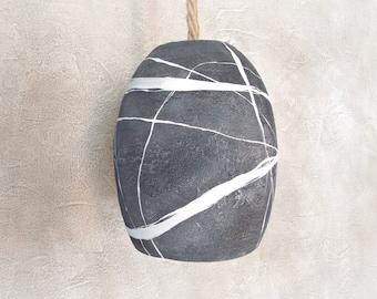 Lampada a sospensione con sasso dipinto a mano Lampadario stile mare Puntoluce cucina moderna Lampade da soffitto Paralume effetto pietra