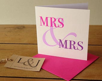 Lesbian card, anniversary / valentines day card for girlfriend, pink and purple ampersand design, happy wedding day babe