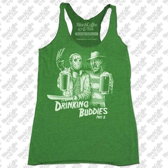 St Patricks Day Shirt - Women's Freddy Krueger and Jason Shirt- Friday The 13th Shirt- Womens Funny St Pattys Day Green Tank Top -Beer Shirt