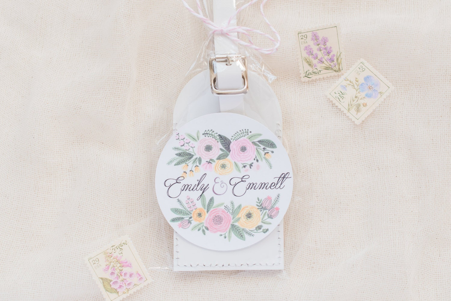 Wedding Favors Floral Bouquet Leather Luggage Tags