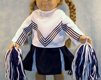 18 Inch Doll Clothes - Navy and White Cheerleader Costume made by Jane Ellen to fit 18 inch dolls