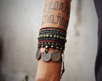 Macramé tribal bracelet or anklet