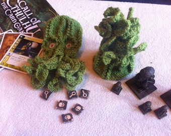 Knitted Cthulhu/Octopus Dice Bag -  Made to Order