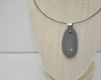 Beach Stone Pebble Necklace - Pacific Opal