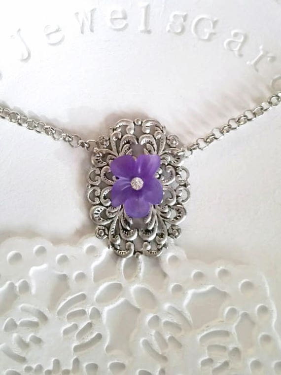 Purple necklace violet silver choker flower necklace Vintage pansy pendant Victorian bridesmaid gift for grandmother delicate necklace