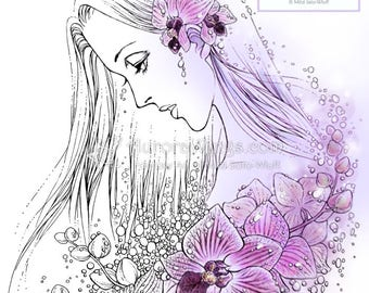 Digital Stamp - Orchids in the Rain - Woman in Profile with Blooms - Fantasy Line Art for Cards & Crafts by Mitzi Sato-Wiuff