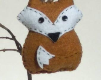 Felt fox ornament, fox decor hanger, felt fox rear view mirror hanger, woodland fox nursery decor, woodland animal ornament, doorknob hanger