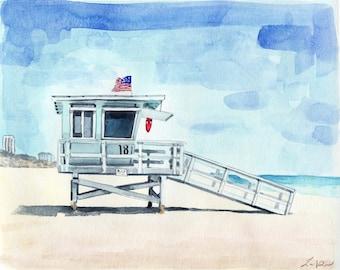 California Lifeguard Tower Print 2 Beach House Art California Beach Print Beach Painting Coastal Wall Decor Nautical Wall Art Canvas Art