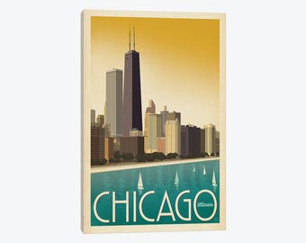 Chicago Skyline, Chicago Art Print, Downtown Chicago Illinois, Sears Tower, Windy City, Chicago Poster, Canvas Wall Art Travel Retro Decor